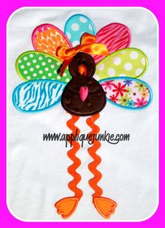 Long Legged Turkey Applique Design.  Cute site for inexpensive appliqué for all occasions!