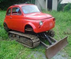 "Funny Fiat 500 ""Snowplough"" Glass Glass Tudor here is what we need this winter. Drive A Tank, Snow Removal Machine, Snow Vehicles, Engin, Snow Plow, Old Tractors, Unique Cars, Steyr, Car Humor"
