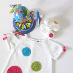 Knitted baby dress white with big crochet dots 100 by tenderblue, $66.00