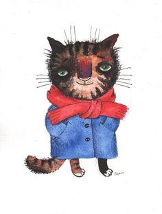 The Warm Cat With a Fish by Nastya Ozozo (Nastassia Atrakhovich)