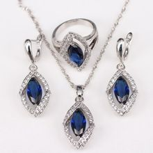 Stylish White Topaz Blue Sapphire Jewelry Sets For Women 925 Sterling Silver Earring/Ring/Necklace Free Gift Box RLJS0158