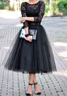 Fashion Lace Patchwork Ball Gown Dress Women Tulle Tutu Mid-Calf Dresses Elegant Party O-neck High Waist Vestidos summer dress Prom Dresses Long With Sleeves, Dresses Short, Lace Evening Dresses, Evening Gowns, Evening Party, Dresses 2016, Fitted Dresses, Tea Length Bridesmaid Dresses, Vintage Bridesmaid Dresses