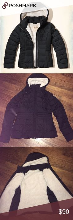 Sherpa lined fuffer jacket Excellent condition and so very warm!!!!! I have another so I'm selling one because I don't need both!! This one is new without tags!!! The second picture is just the lighting there's nothing wrong with the actual jacket...Paid 120$ Hollister Jackets & Coats Puffers