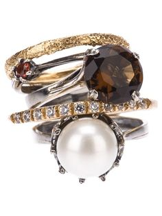 Iosselliani ~ Stack Rings Set with Pearl Iosselliani, Diamond Are A Girls Best Friend, Jewelry Box, Jewellery, Stacking Rings, Luxury Jewelry, Pattern Fashion, Ring Designs, Women's Accessories