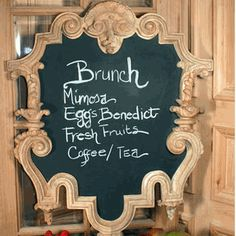 This French MenuChalk Board is a hand-carved reproduction of an Paris cafe menu board. Its unique design is complimented by the fact that the chalk board surface is metallic, so that along wi. Diy Chalkboard Paint, Menu Chalkboard, Chalk Paint, French Cafe Menu, Cafe Menu Boards, Painted Fox Home, Hand Craft Work, Atlanta, Iron Furniture