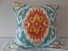 Iman Tuquoise and Orange Ikat Medallion Ubud Decorative Pillow Cover - - Throw Pillow - Accent Pillow -Both Sides Modern Throw Pillows, Ikat Pillows, Toss Pillows, Linen Bedding, Accent Pillows, Bed Linens, Linen Baskets, Orange And Turquoise, Orange Pink