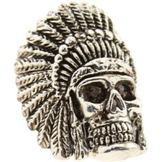 Han Cholo Indian Chief Skull Ring (stainless steel silver) HCR60SIL - $69.99