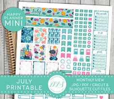 July Mini Happy Planner, July Planner Kit, July Printable Stickers, July Monthly Kit, DIY Planner Stickers, Cricut, Silhouette, MM109