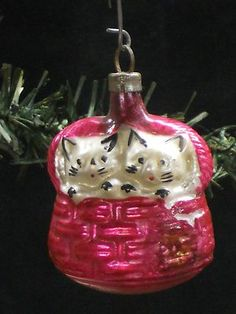 """antique Czech glass ornament, """"Two Kittens in A Basket"""""""