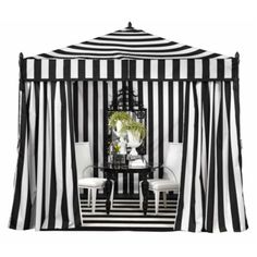 Z Gallerie - Portofino Pavilion - Elegant outdoor tent, black and white cabana stripe walls, roof, floor, and front gathered drapes, shown with high style furniture but could accomodate many styles, 10'x10'x10'