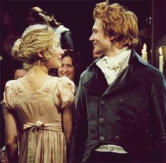 'Mr Bingley protested loudly, but to no avail. Jane smiled at his enthusiasm and expressed a wish to see him again at next month's assembly.' This pic -Pride and Prejudice Simon Woods and Rosamund Pike as Bingley and Jane Bennet. Pride And Prejudice Characters, Pride And Prejudice 2005, Elizabeth Gaskell, Rosamund Pike, Jane Eyre, Movies Showing, Movies And Tv Shows, Mr Bingley, Little Dorrit
