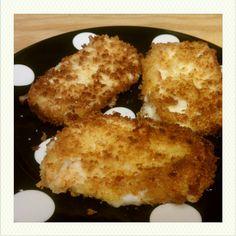 Fresh mozerella pattys breaded in panko and fried yummmmm