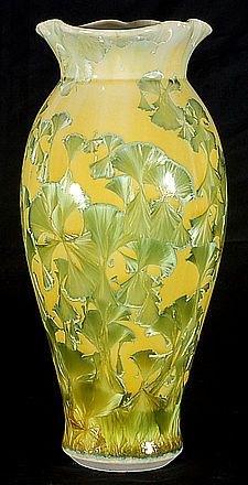 William Melstrom, Uranium Oxide yellow vase, crystalline glaze.