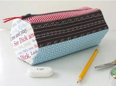 Hexagon Pencil Case A PDF sewing pattern from During Quiet Time Paper Piecing Patterns, Bag Patterns To Sew, Pdf Sewing Patterns, Sewing Tutorials, Quilt Patterns, Sewing Projects, Quilting Projects, Pencil Case Pattern, Cool Pencil Cases