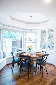 Glass Kitchen Table And Chairs Joanna Gaines.Chic Gray Dining Room With Rustic Table And Vintage Metal . Off White Cabinets With A Blue Kitchen Island MasterBrand. Affordable Contemporary Dining Room Table Sets With Chairs . Home and Family Glass Kitchen Tables, Kitchen Table Bench, Dining Room Table, Table And Chairs, Kitchen Nook, Dining Rooms, Farmhouse Round Dining Table, Round Wood Table, Small Dining