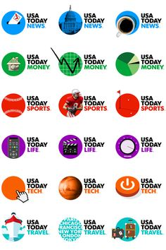 USAToday Logo and Newspaper  Examples of applications of styles to best represent the branding over the actual logo – the main corporate identity is still retained with typography and supported with visual descriptive imagery. Newspaper Logo, Newspaper Design, Dynamic Logo, Identity Design, Brand Identity, Visual Identity, Logo Branding, Logos, Pub Design