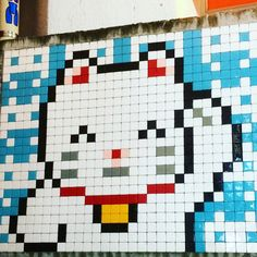 The only street art piece we saw during our trip to Japan: Happy Neko by Invader in Shibuya, Tokyo Japan Street, Fuse Beads, Japan Travel, Street Art, Art Pieces, Shibuya Tokyo, Quilts, Yoga, Happy