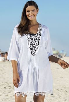 White Crochet V-Neck Tunic