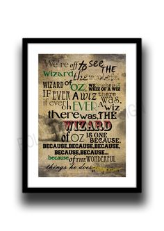 We're off to see the Wizard, by L Frank Baum, Art print , Nostalgic, Typography poster by melOnDesign on Etsy