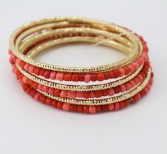Rober Rose Gold Tone Coral Bead Set of 6 Bangle Bracelet #RobertRose #Bangle
