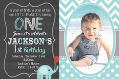 Boys Elephant Birthday Invitation Chalkboard Elephant First Birthday Invitation You Print Digital Invitation 4x6 or 5x7