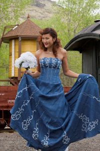 94e19b3ed7 Forever In Blue Jeans Denim Western Wedding Corset Wedding Dress