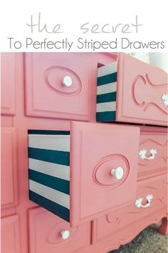 Hi Everybody! After popular demand today I am back to show you how I got those perfectly striped drawers on my Deux of French Dresser Makeovers.   While it did take some extra time to add this hidden detail to my dressers, it really gave them the extra pop they needed.…