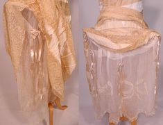 Vintage 1920s Nemser Robe de Style Cream Silk Lace Pannier Hoop Skirt Wedding Dress - back