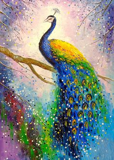 A Magnificent Peacock Birds Art Peacock Art Animals Nature Impressionism Oil Canvas On The Wall Decor For Interior Bright Art - Painting Peacock Canvas, Peacock Wall Art, Peacock Painting, Peacock Wallpaper, Scenery Wallpaper, Landscape Wallpaper, Beautiful Nature Wallpaper, Beautiful Birds, Peacock Pictures