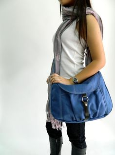 Claire in Blue  // Messenger / by christystudio, $40.50