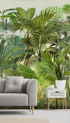 Discover the stunning tropical murals by Andrea Haase. Interior Tropical, Tropical Home Decor, Tropical Houses, Botanical Interior, Tropical Furniture, Tropical Design, Tropical Bedrooms, Tropical Living Rooms, Tropical Wallpaper