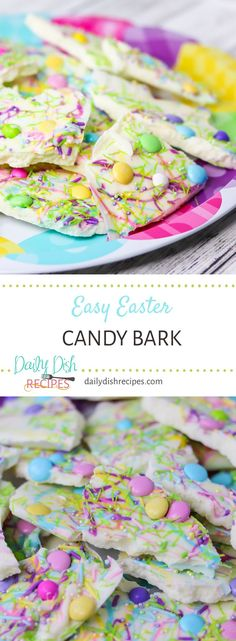 Bright, colorful and delicious Easter Candy Bark is simple to make and is a fun treat for gift giving or simply to enjoy yourself. via candy bark Easy Easter Candy Bark Best Dessert Recipes, Candy Recipes, Fun Desserts, Real Food Recipes, Delicious Desserts, Amazing Recipes, Yummy Food, Spring Recipes, Easter Recipes