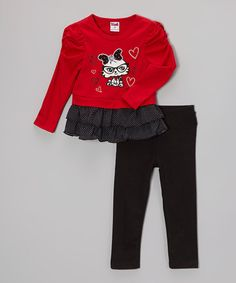 Look at this #zulilyfind! Red Embroidered Nerdy Cat Tunic & Leggings - Toddler & Girls by Unik #zulilyfinds