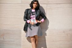 Leather Jacket, Skater Skirt, Asos Sweatshirt, Oakley Sunglasses http://risingcolors.blogspot.in/