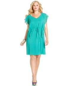 Spense Plus Size Dress, Flutter Sleeve Drawstring Waist - Plus Size Dresses - Plus Sizes - Macy's