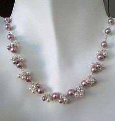 Powder Rose Pearl Flower Necklace Earrings Set by LaLaCrystal, $45.00