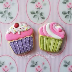 Galletas cupcakes decoradas con  glasa. #dulcesplaceresbymer www.facebook.com/dulcespaceresbymer  Instagram @dulcesplaceresbymer
