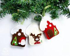 Felt Christmas Decoration Felt Houses Christmas by BlueOwlHome
