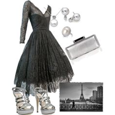 """One night in Paris"" by roz-harman on Polyvore.  (I love the dress but would tone down the accessories.)"