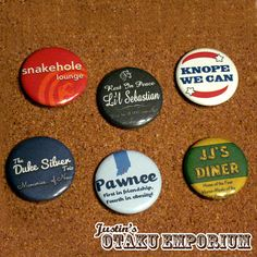 Parks & Rec Pin 6 Pack by JustinsOtakuEmporium on Etsy, $8.00