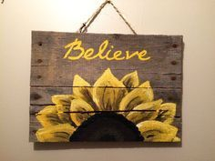 Wood Pallet Sign with sunflower by HippieHoundUSA on Etsy