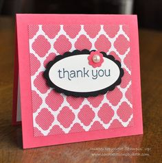 3x3 Thank You Card; Stampin Up; Card Creations by Beth