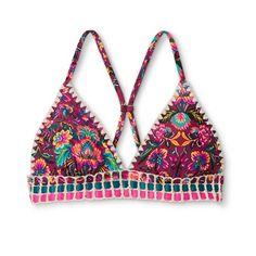 Women's Crochet Trim Longline Triangle Bikini Top - Xhilaration™ : Target