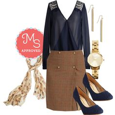 In this outfit: Well-to-Brew Skirt, Airy Allure Top, Quill I Am Scarf, Key to Simplicity Earrings, Teacup and Running Watch, I'm Sew Excited Heel #chic #workwear #plaid #fashion #ModCloth #ModStylist