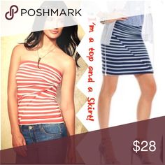 CAbi Orange/White Striped Tube Top/Skirt Wear as a top or skirt, alone or layered. 96% Rayon/4% Spandex. Medium. Excellent Condition. Happy Poshing! CAbi Tops