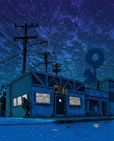 mydearscout: feministingforchange: mayahan:Illustrator, Tim Doyle, Re-Imagines The Simpsons' Springfield As A Gloomy Desolated Town wow, i love this! Looks spooky. Illustration Nocturne, Night Illustration, The Simpsons, Simpsons Springfield, Digital Foto, Spoke Art, Sad Art, Futurama, Screensaver