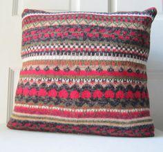 Fairisle Pillow 16 Pillow Knit Throw Pillow by WildRabbitsBurrow
