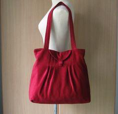 Large Maroon Corduroy Velvet - Pleats with Flap Bag - LOVE IT!!!!!