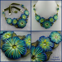 2 Good Claymates: Floral Collar Necklace Prototypes