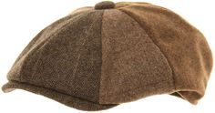 Mens Brown Baker Boy Cap 8 Panel Newsboy Hat Gentlemans Peaked Country Flat Cap